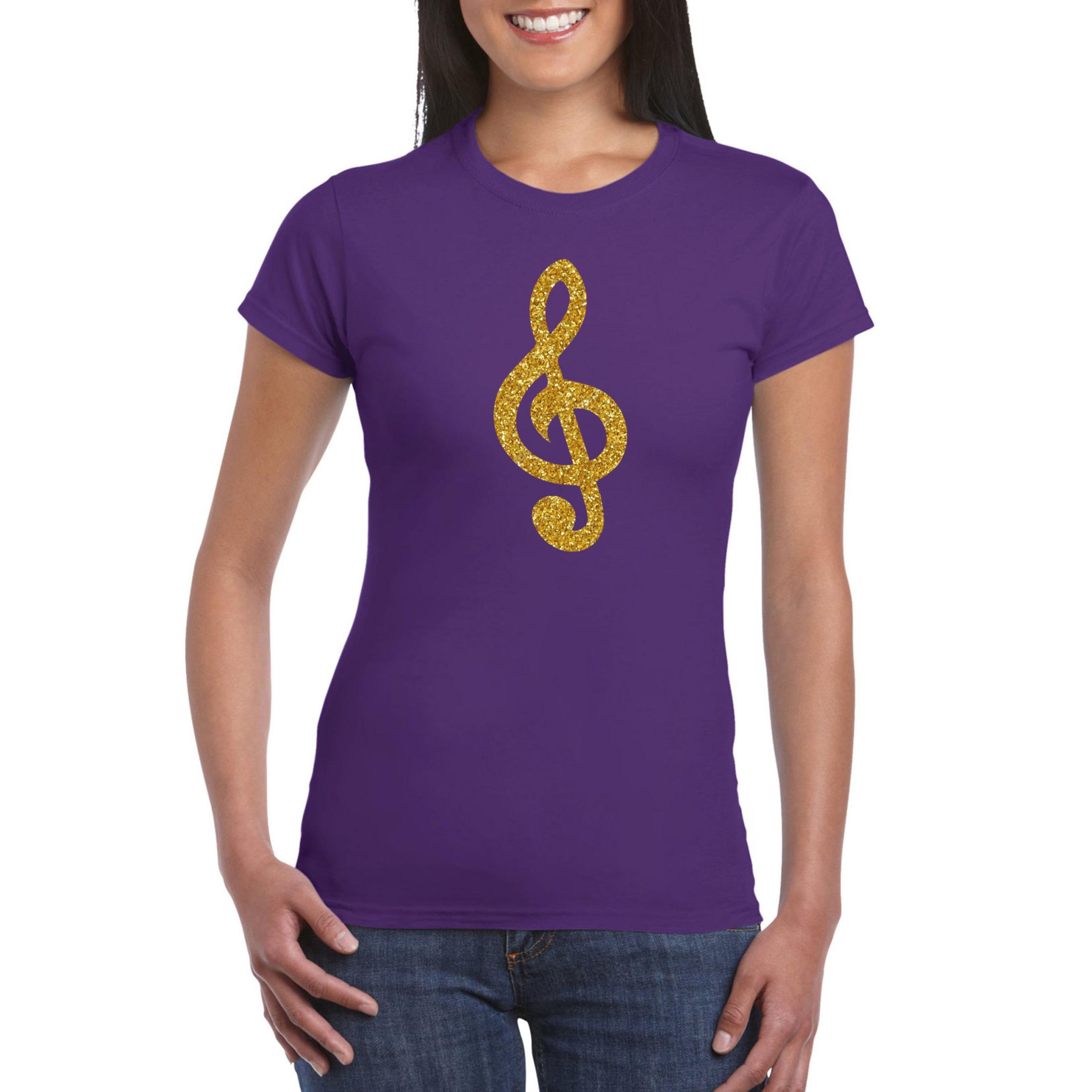 Gouden muzieknoot G-sleutel - muziek feest t-shirt - kleding paars dames