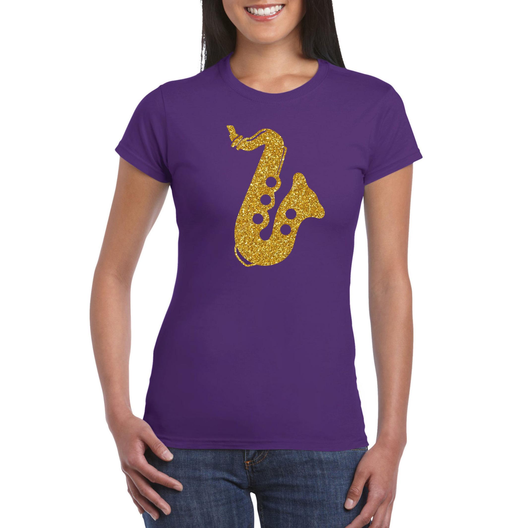 Gouden saxofoon - muziek t-shirt - kleding paars dames