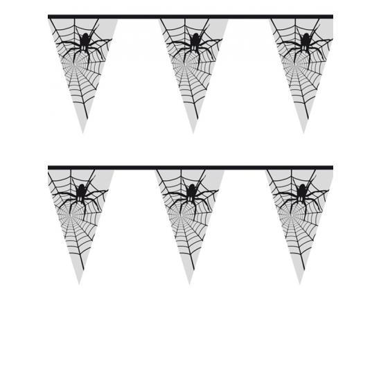 Griezel feestje versiering spinnenweb vlaggenlijn 6 meter