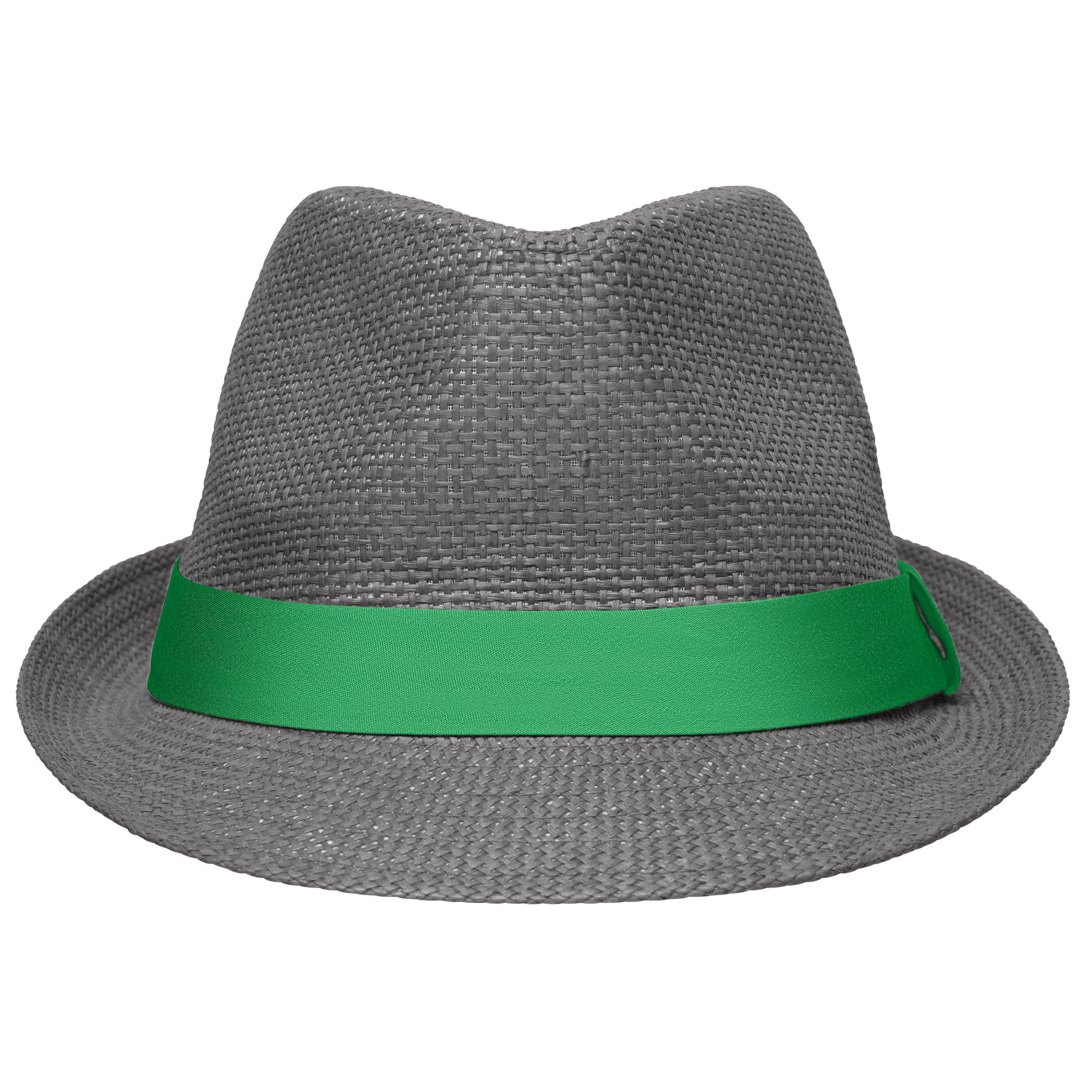 Grijs met groen trilby hoedje