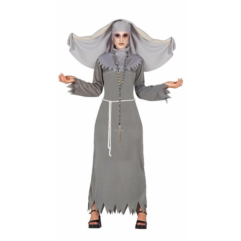 Grijze geest nonnen kostuum voor dames