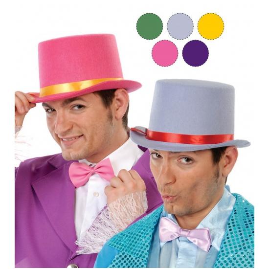 Grijze hoge hoeden van vilt voor volwassenen