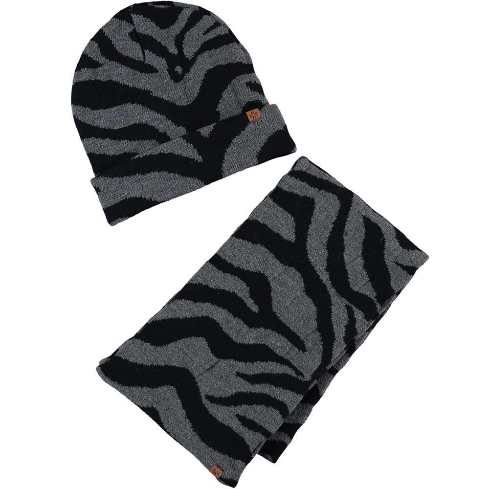 Grijze/zwarte zebraprint meisjes winter accessoires set muts/sjaal