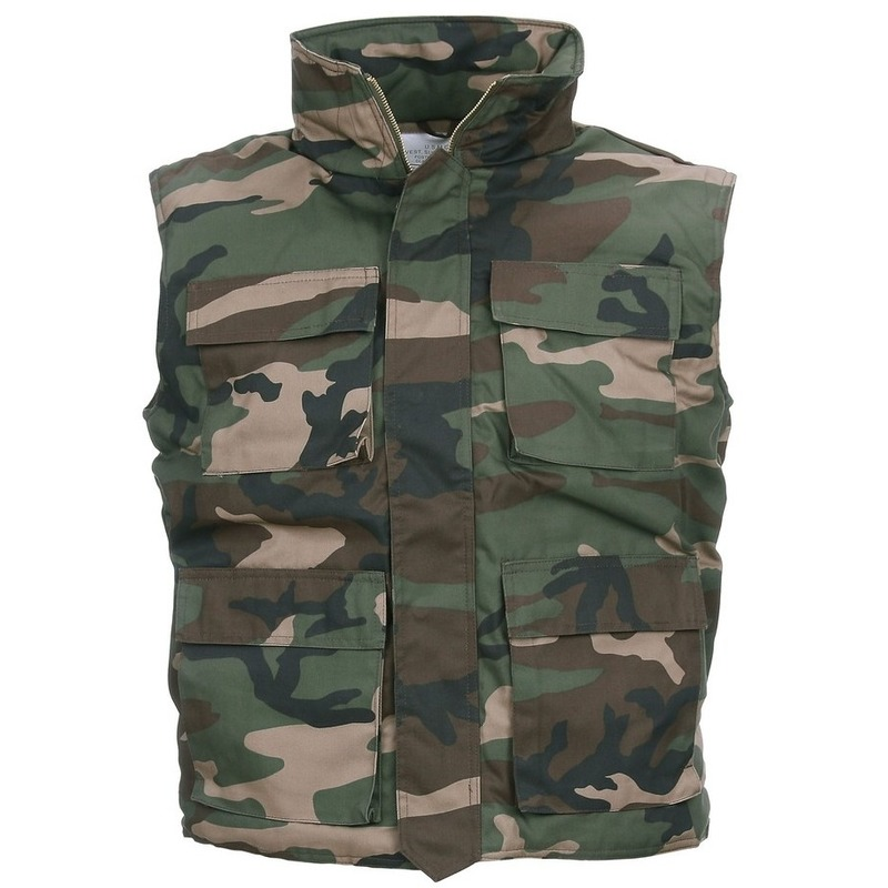Groene camouflage bodywarmer voor heren