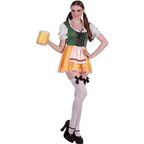 Groene/gele Tiroler dirndl verkleed kostuum/jurkje voor dames