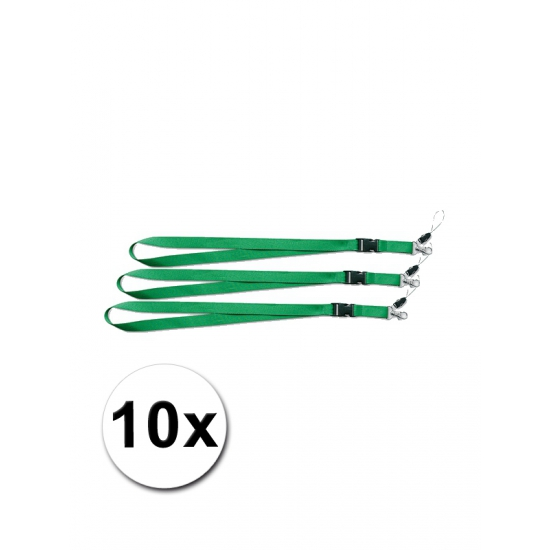 Groene lanyards 10 stuks