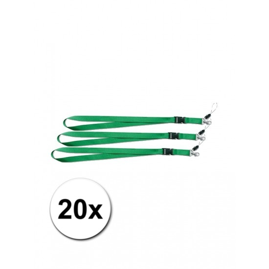 Groene lanyards 20 stuks