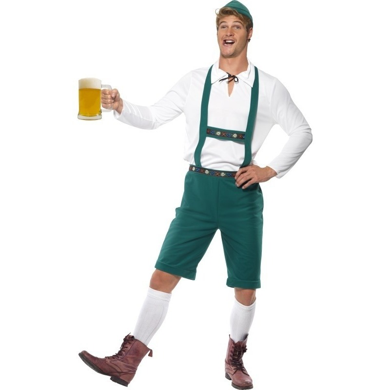 Groene Oktoberfest lederhosen voor heren