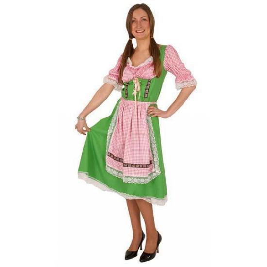 Groene/roze Tiroler dirndl verkleed kostuum/midi jurk voor dames