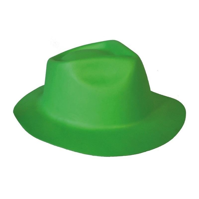 Merkloos Groene trilby hoed van foam verkleedaccessoire voor volwassenen