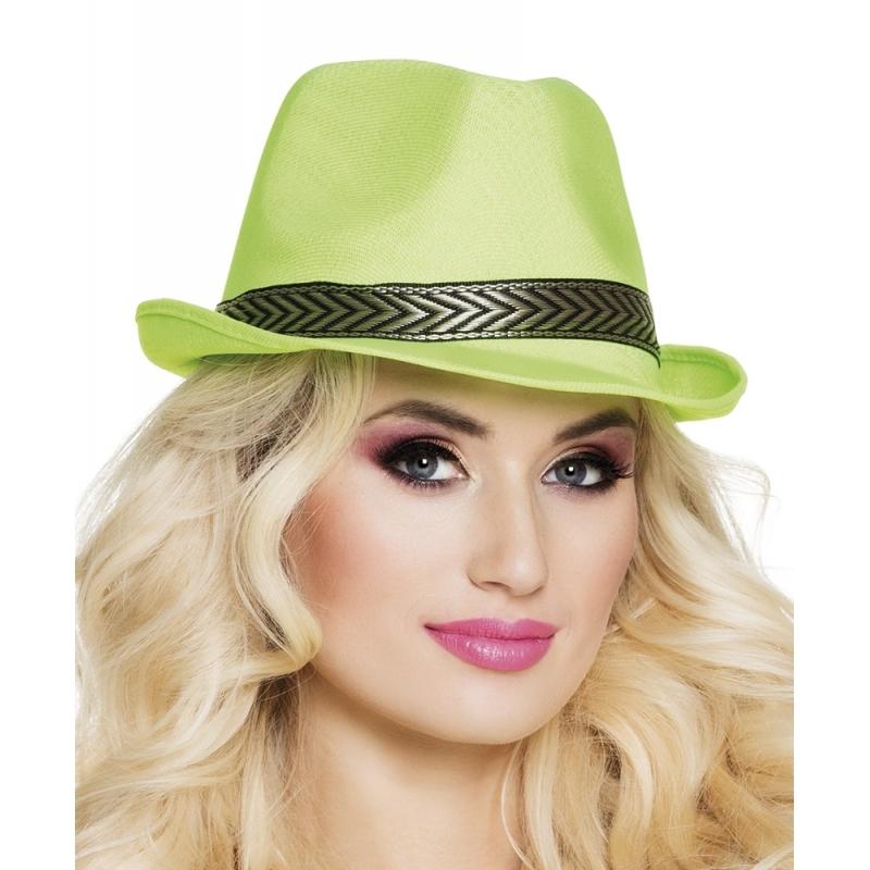 Merkloos Groene trilby hoed voor volwassenen