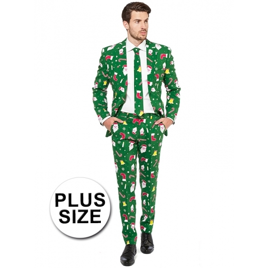 Groot fout carnavalspak met kerst print groen