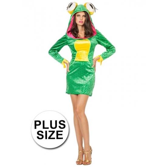 Grote maat groene kikker jurk voor dames