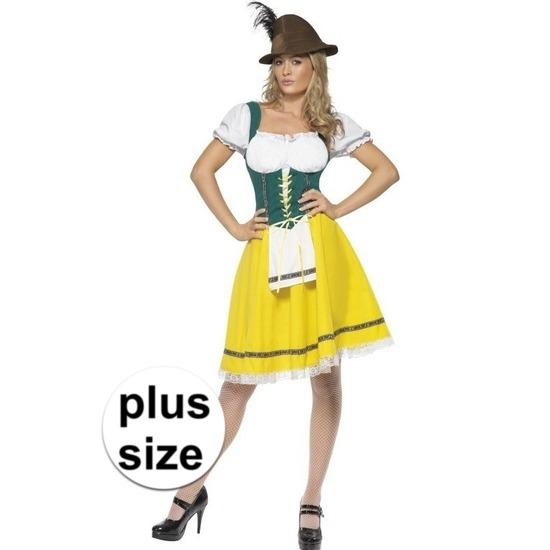 Grote maten geel/groen Dirndl jurkje voor dames