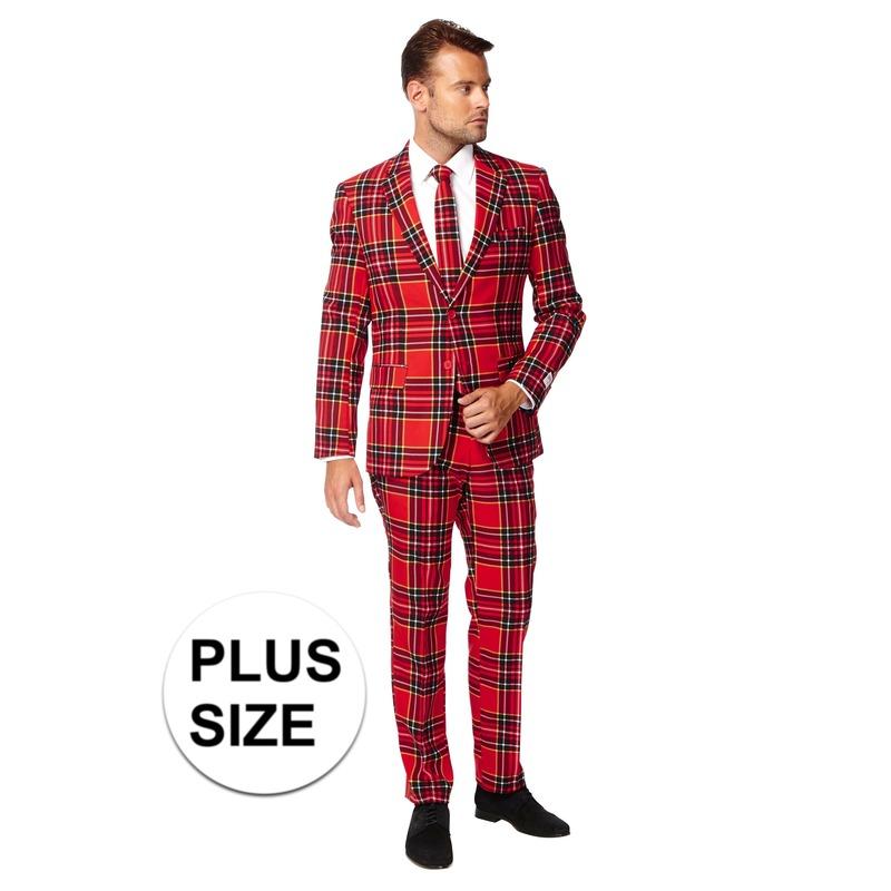 Grote maten heren verkleed pak/kostuum rode Schotse print