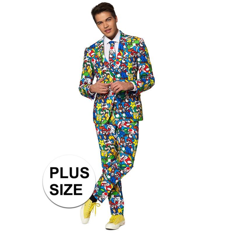 Grote maten heren verkleed pak/kostuum Super Mario print
