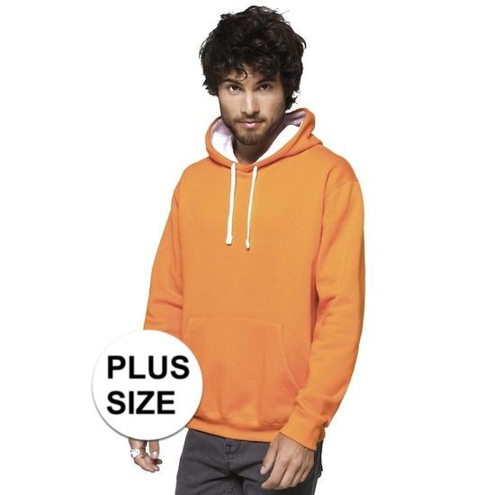 Grote maten oranje/witte sweater/trui hoodie voor heren