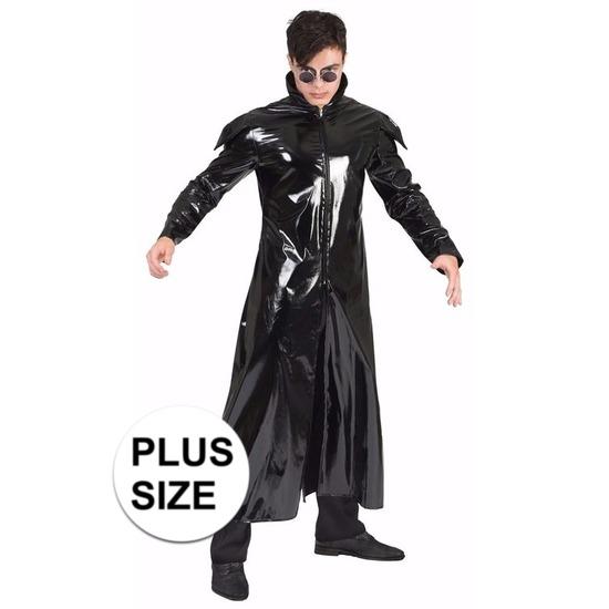 Grote maten zwarte gothic lak verkleed jas voor heren