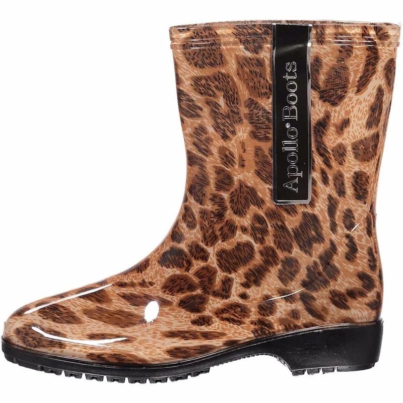 Halfhoge dames regenlaarzen met luipaardprint