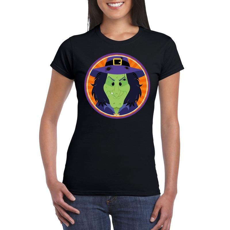 Halloween heks t-shirt zwart dames