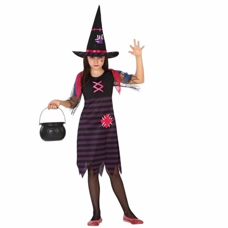 Halloween heksen kostuum paars/zwart voor meisjes