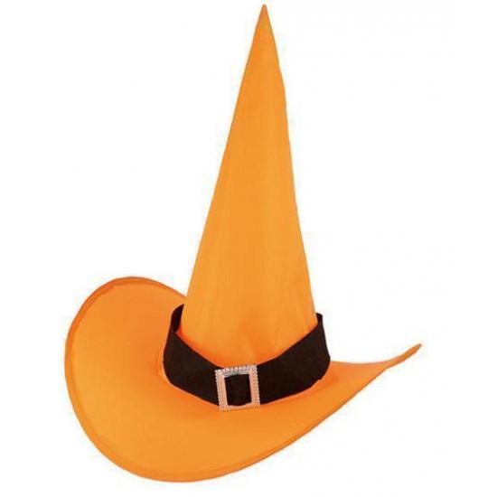 Merkloos Halloween heksenhoed oranje voor volwassenen