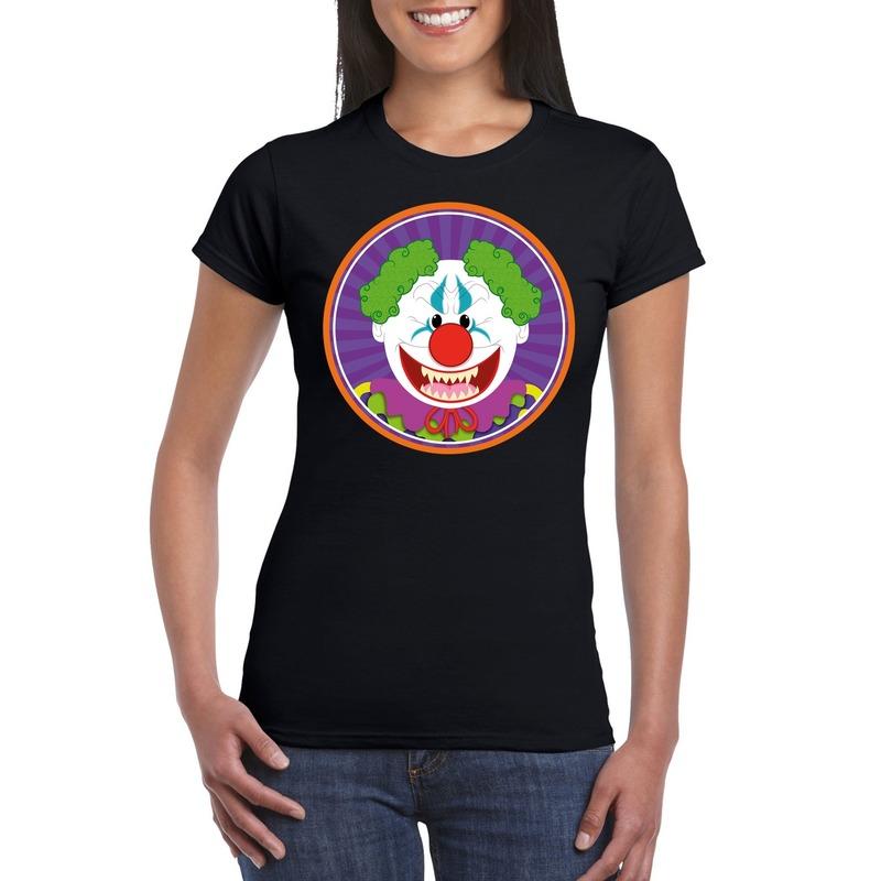 Bellatio Decorations Halloween horror clown t-shirt zwart dames