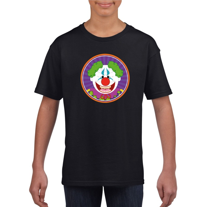 Bellatio Decorations Halloween horror clown t-shirt zwart kinderen