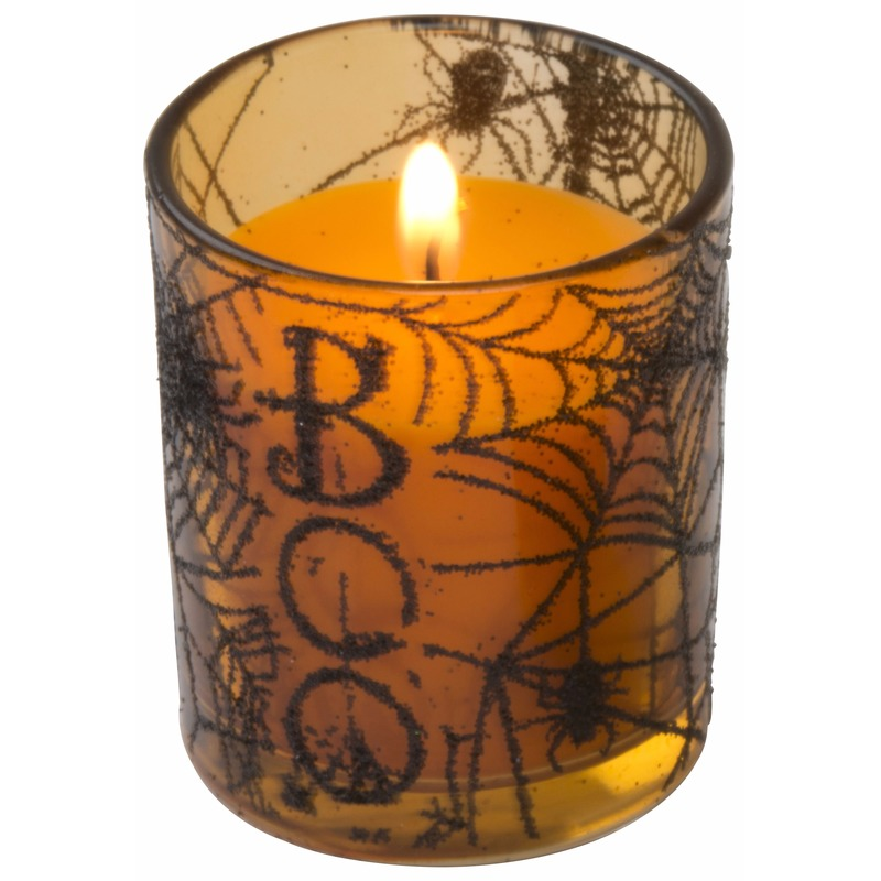 Halloween kaarsjes oranje in glazen houder 6 cm