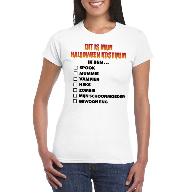 Bellatio Decorations Halloween kostuum lijstje t-shirt wit dames