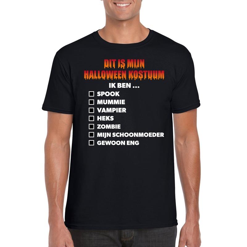 Bellatio Decorations Halloween kostuum lijstje t-shirt zwart heren