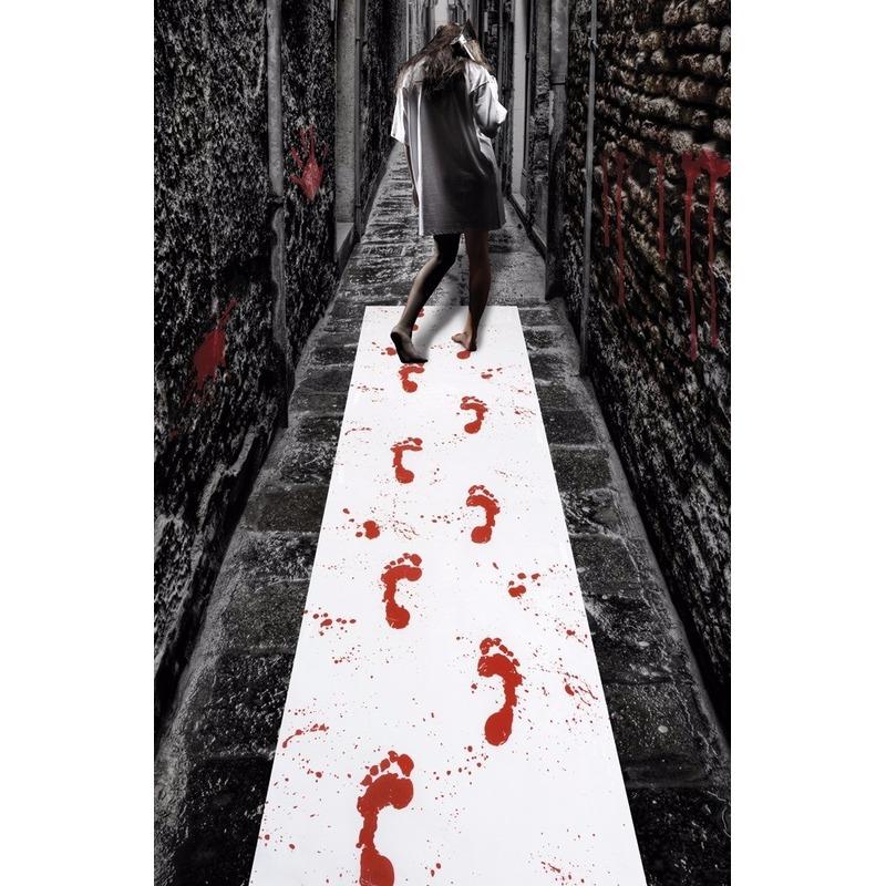 Halloween loper met bloed afdrukken