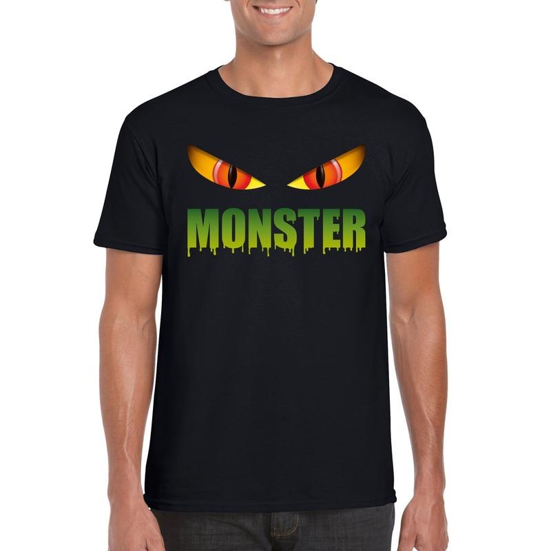 Bellatio Decorations Halloween monster ogen t-shirt zwart heren