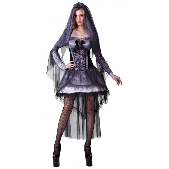 Halloween outfit zwarte bruid