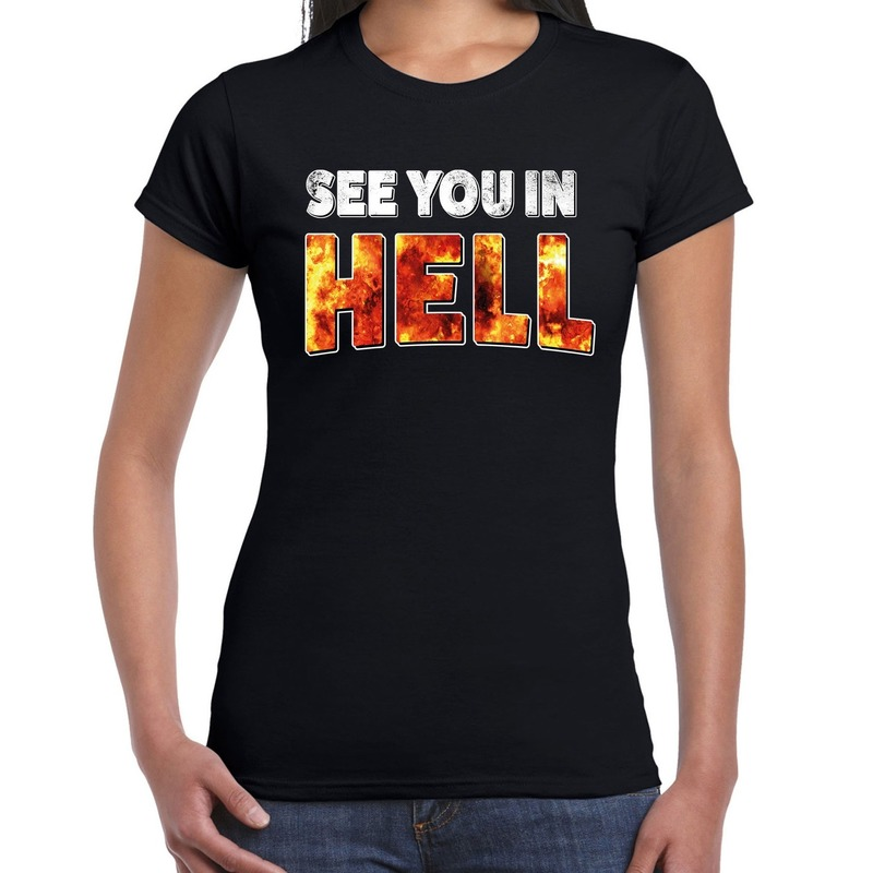 Halloween see you in hell verkleed t-shirt zwart voor dames