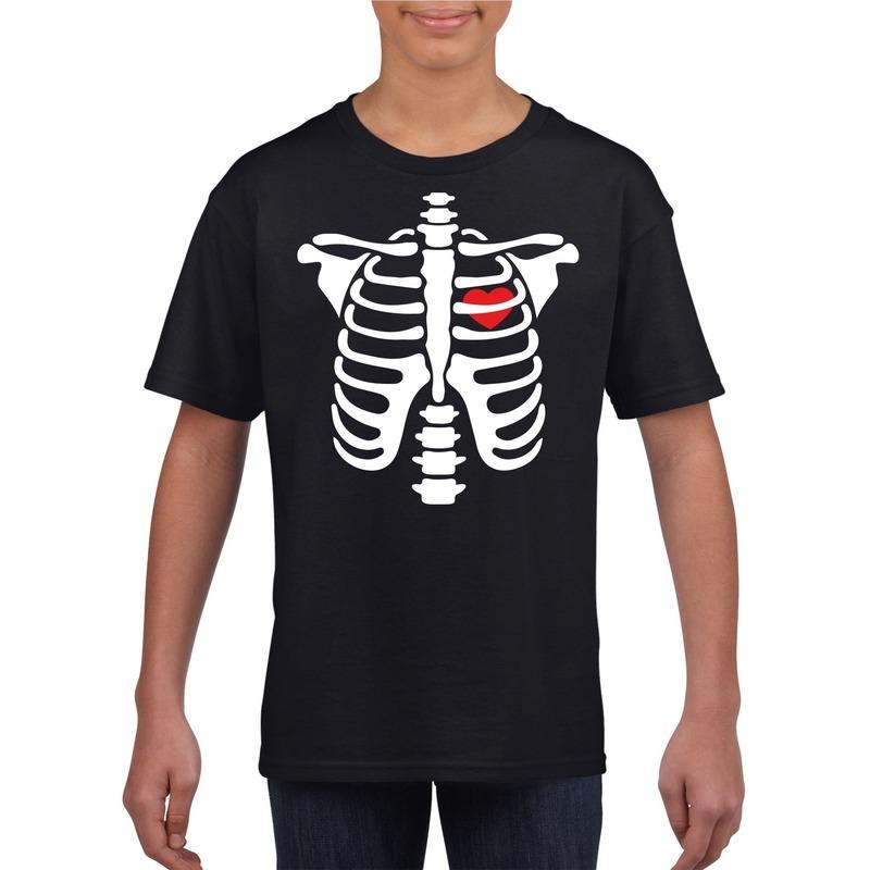 Halloween skelet t-shirt zwart kinderen