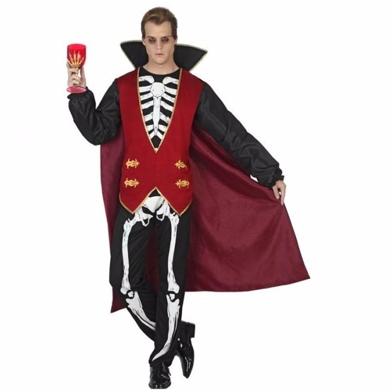 Halloween vampier kostuum met skelet print