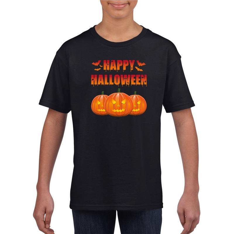 Bellatio Decorations Happy Halloween t-shirt zwart kinderen