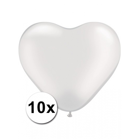 Hartjes ballonnen transparant 10 stuks