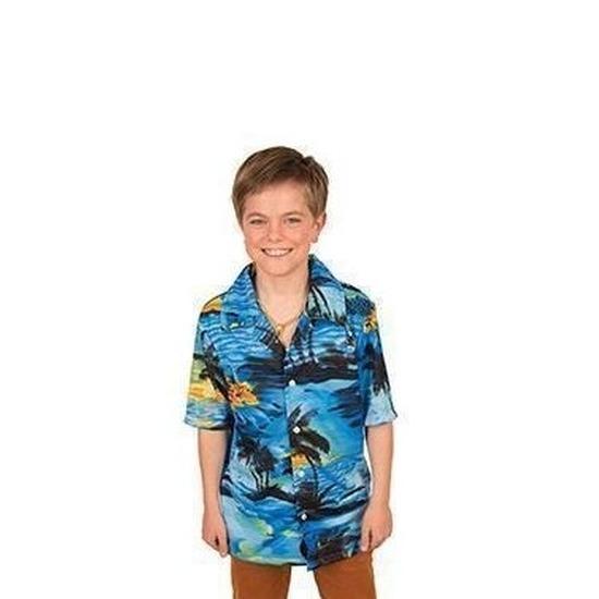 Merkloos Hawaii blouse/overhemd blauw voor jongens