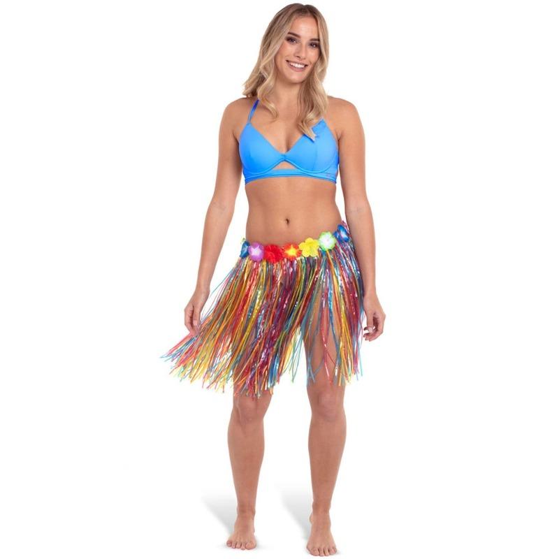 Hawaii thema verkleed rokje gekleurd 45 cm