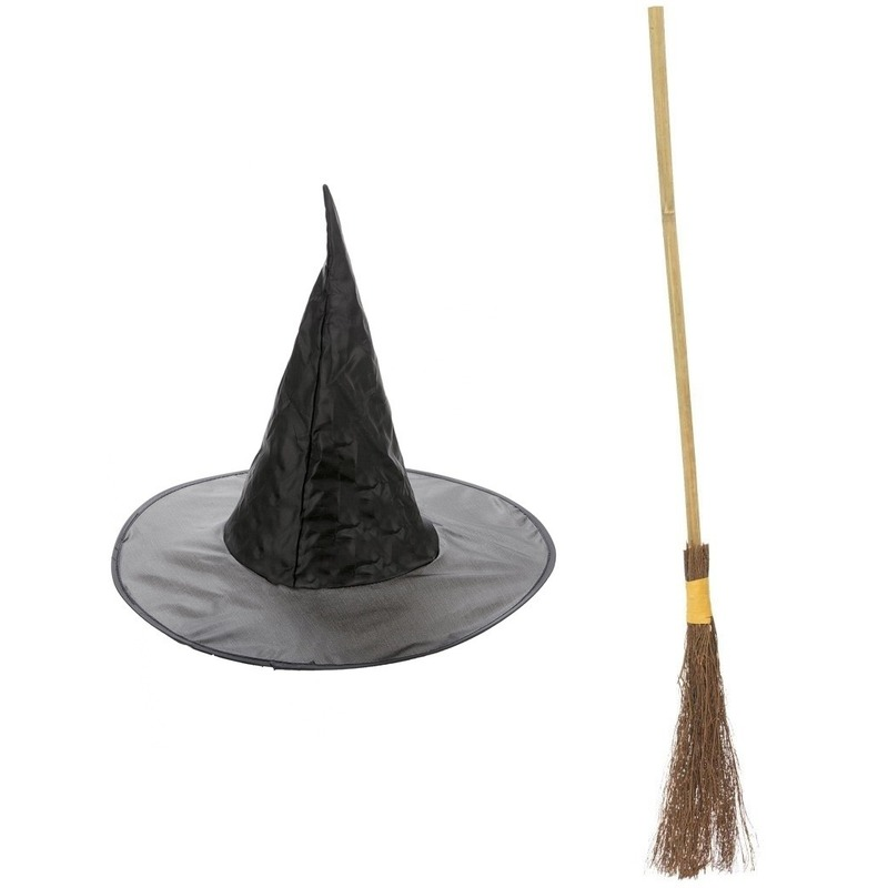 Heksen accessoires set hoed met bezem 100 cm voor meisjes