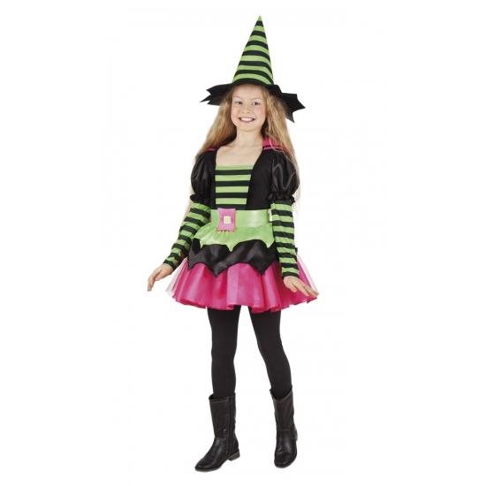 Heksen kostuum groen/roze voor meisjes