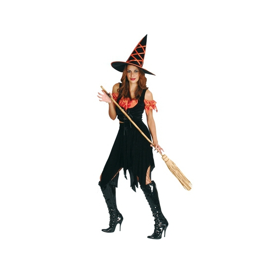 Heksen kostuum zwart oranje