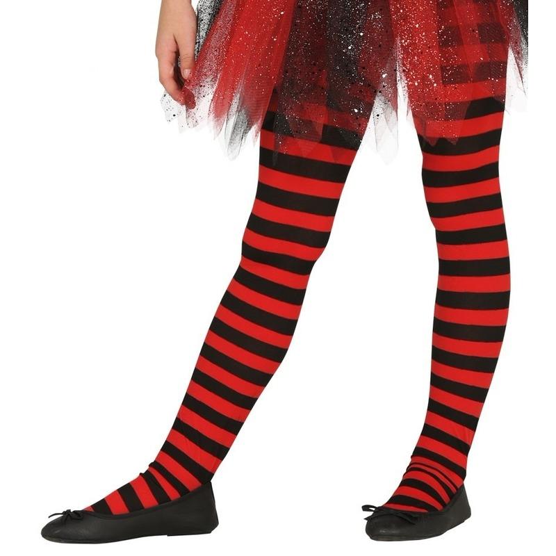 Merkloos Heksen verkleedaccessoires panty maillot rood/zwart voor meisjes