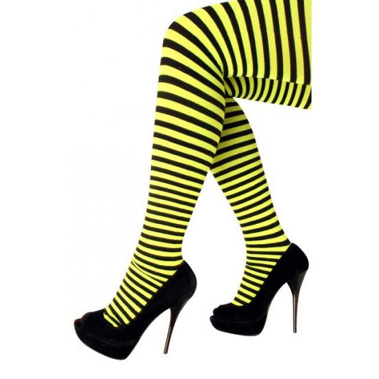 Heksen verkleedaccessoires panty maillot zwart/geel voor dames
