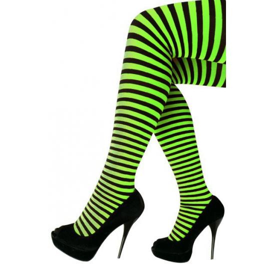Heksen verkleedaccessoires panty maillot zwart/groen voor dames