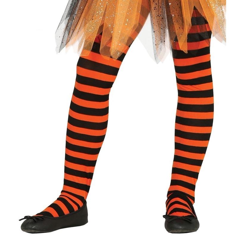 Merkloos Heksen verkleedaccessoires panty maillot zwart/oranje voor meisj
