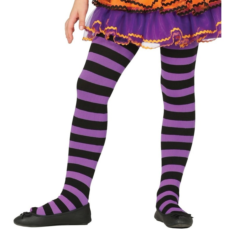 Merkloos Heksen verkleedaccessoires panty maillot zwart/paars voor meisje