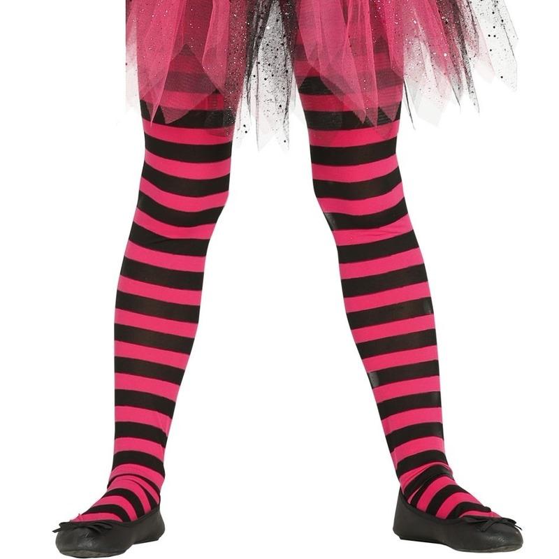 Merkloos Heksen verkleedaccessoires panty maillot zwart/roze voor meisjes